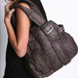 Sabina NY Dark Grey Leather Satchel